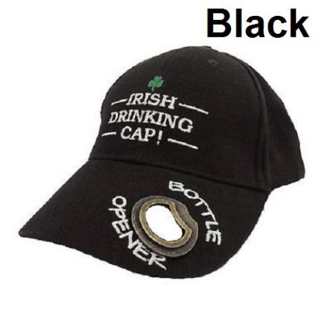 Irish Drinking Cap with Bottle Opener -  Black or Green
